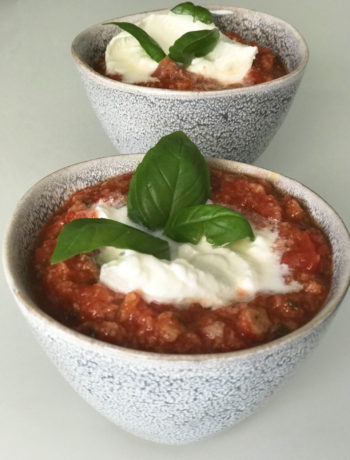 Chaud froid de tomates & burrata